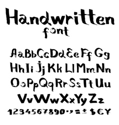 Handwritten font with a flat brush and ink vector