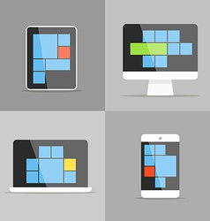 Different modern personal gadgets with interface vector
