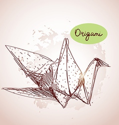 Origami paper cranes sketch line on beige vector