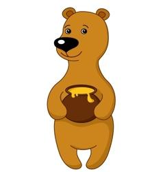 Teddy bear with a honey pot vector