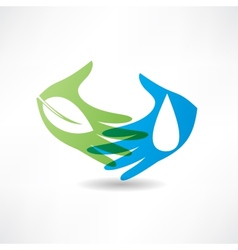 Eco concept hand and water icon vector
