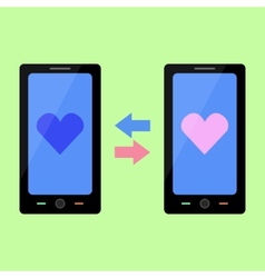 Flat style smart phone with love talk vector