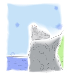 Castle on the cliff by the sea vector