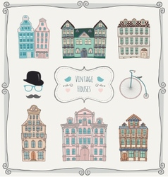 Vintage old styled houses vector