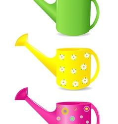 Colorful watering cans vector