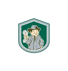 Businessman rich man money shield cartoon vector