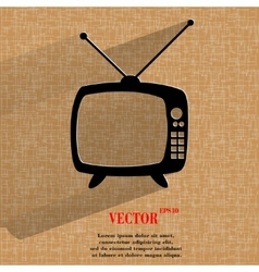 Retro tv flat modern web button on a flat vector
