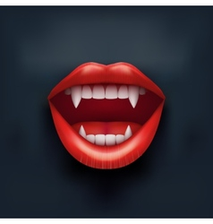 Dark background of vampire mouth with open lips vector