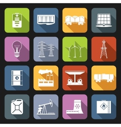 Energy icons flat set vector