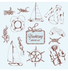 Yachting sketch set vector