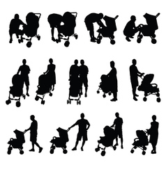 Mother and father with baby stroller silhouette vector