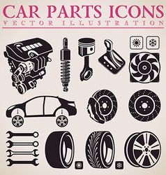 Car parts set repair car service icons vector
