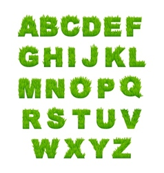 Green grass letters of alphabet vector