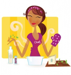 Woman is cooking in kitchen vector