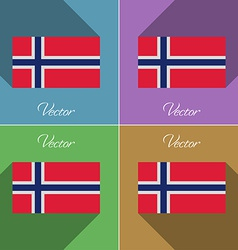 Flags norway set of colors flat design and long vector