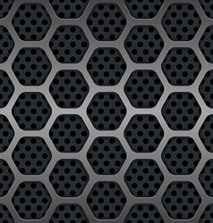 Hexagon metal grill seamless background vector