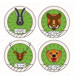 Animals line logo set nature symbol deer bear hare vector