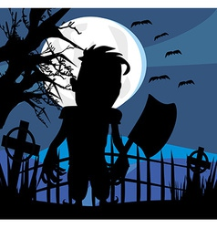 Crazy man with an ax on a dark night vector