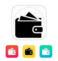 Wallet with cards icon vector