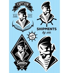 Sea captain with a mustache for design vector