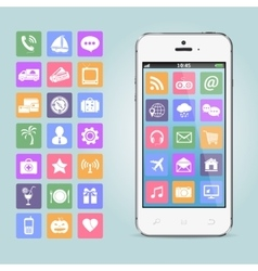 Mobile phone with app icons vector