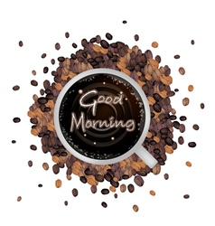 A cup of hot coffee with good morning word vector