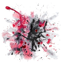 Red and black watercolor splash vector