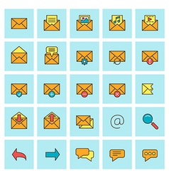Mail and message icon set in flat design style for vector
