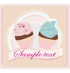 Lovely cupcakes design vector
