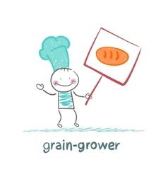 Grain grower in love with bread vector