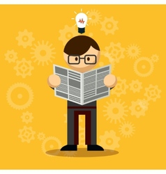 Businessman reading newspaper vector