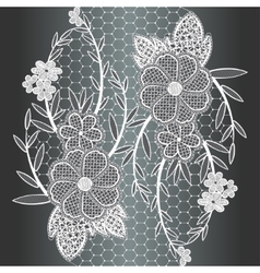 Seamless white floral lace ribbon vector