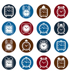 Simple alarm clocks with clock bell decorative vector