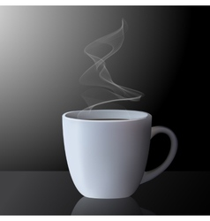 Realistic cup of hot tea or coffee with smoke vector