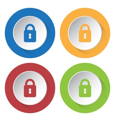 Set of four icons with closed padlock vector