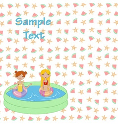 Kids in the swimming pool vector