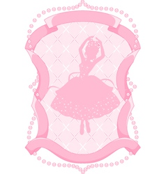 Pink frame with a ballerina vector