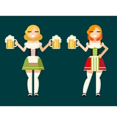Oktoberfest girls female characters icons vector
