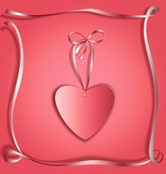 Silk ribbon heart copy vector