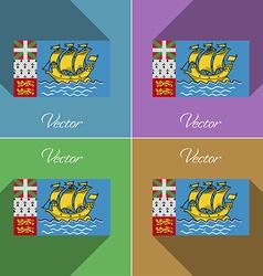 Flags saint pierre miquelon set of colors flat vector