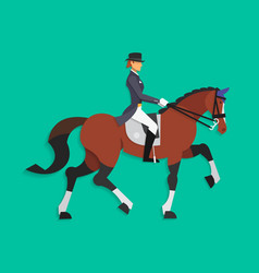 Dressage horse and rider equestrian sport vector