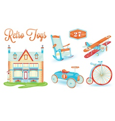 Retro toys icons vector
