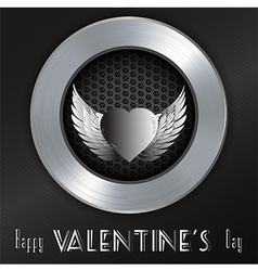 Valentine brushed metallic background with message vector