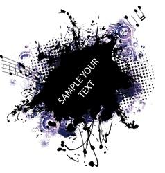 Music grunge frame blue vector