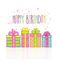 Happy birthday present gift box with confetti vector