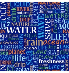 Seamless tag cloud with water words vector