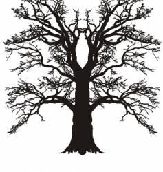 Tree oak silhouette vector