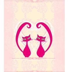 Cute cat in love card vector