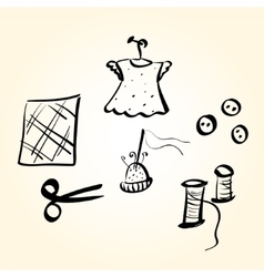 Sewing supplies vector