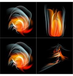 Set burn flame fire abstract background with place vector